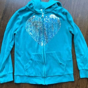 Turquoise zip up hooded sweatshirt